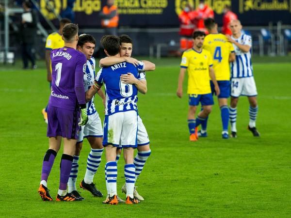 Víťazné oslavy futbalistov Real Sociedad San Sebastián