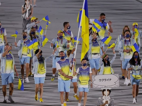 Ukrajinská výprava počas otváracieho ceremoniálu OH v Tokiu
