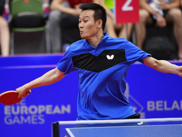 Na snímke slovenský reprezentant v stolnom tenise Wang Jang odvracia loptičku