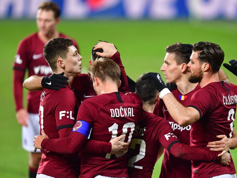 Gólové oslavy futbalistov pražskej Sparty