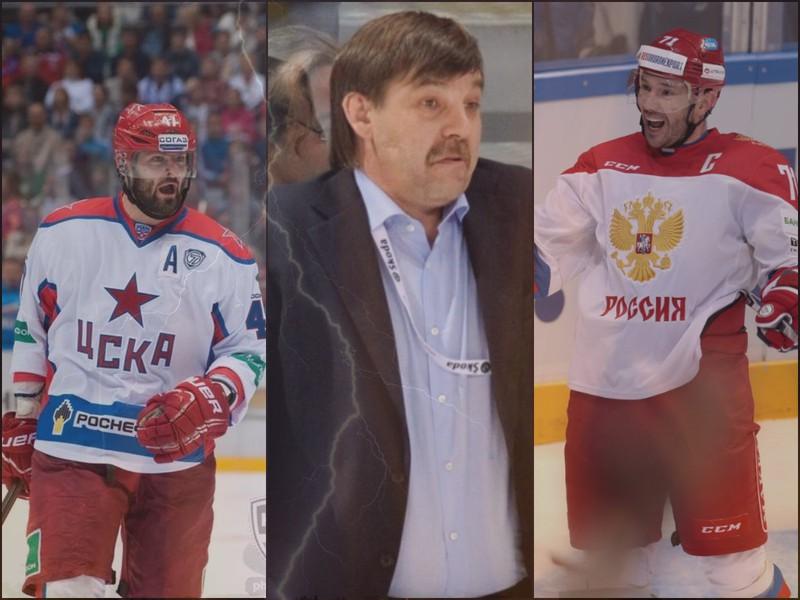 Alexander Radulov (vľavo) a Ilja Kovaľčuk sú s trénerom Olegom Znaroksom (v strede) rozhádaní