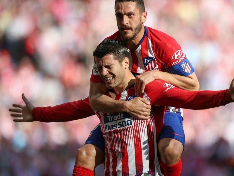 Álvaro Morata oslavuje svoj prvý gól v drese Atlética