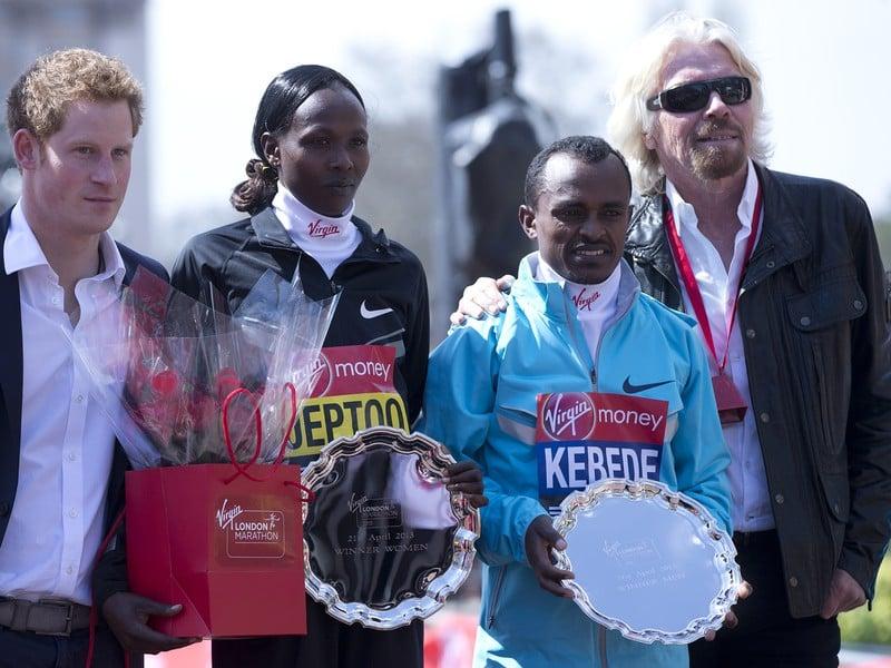 Priscah Jeptooová, Tsegaye Kebede, princ Harry a Richard Branson