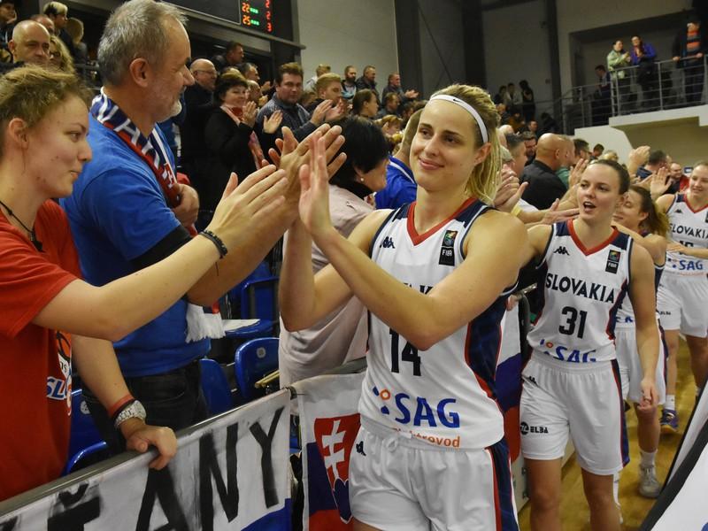 Slovenské basketbalové reprezentantky sa radujú spolu s fanúšikmi z víťazstva nad Islandom