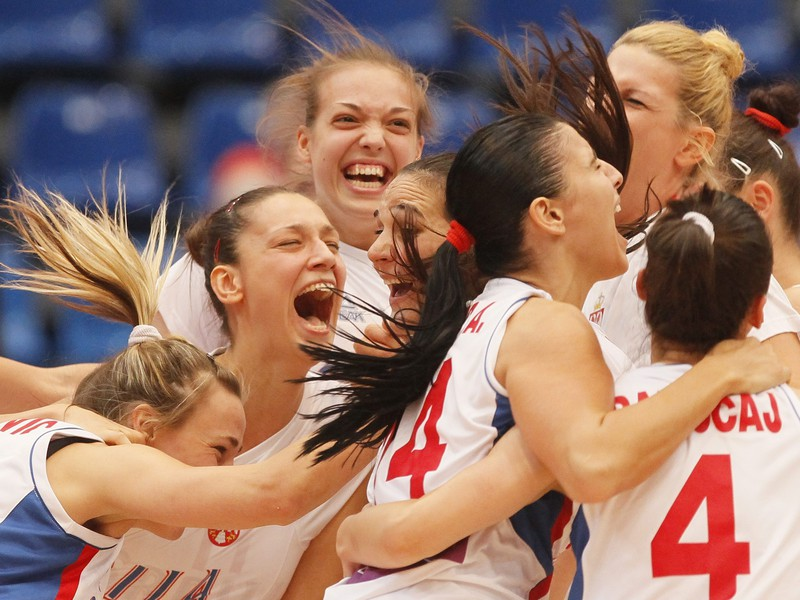 Radosť basketbalistiek Srbska