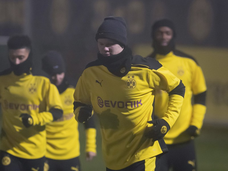 Erling Haaland počas tréningu pred zápasom s Laziom