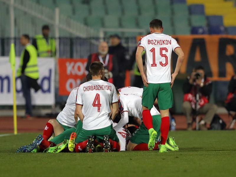 Hráči Bulharska sa tešia z gólu