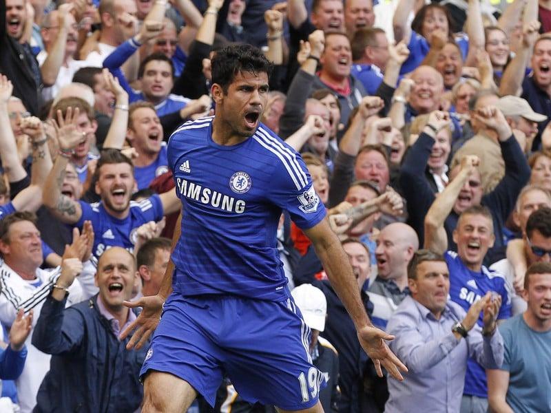 Diego Costa sa raduje z gólu do siete Leicesteru