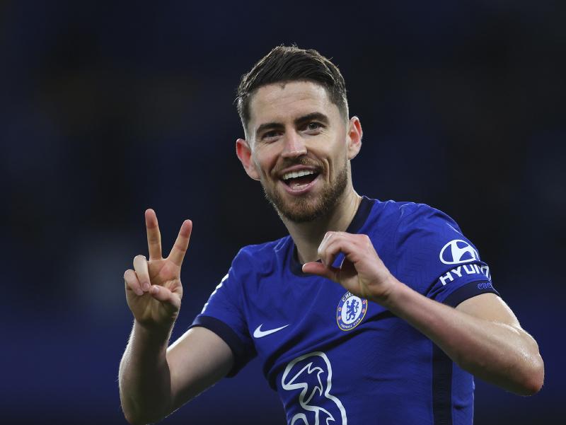 Jorginho oslavuje druhý gól Chelsea