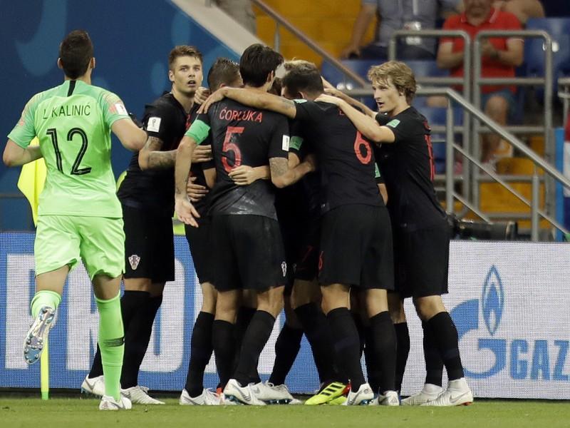 Chorvátski hráči oslavujú