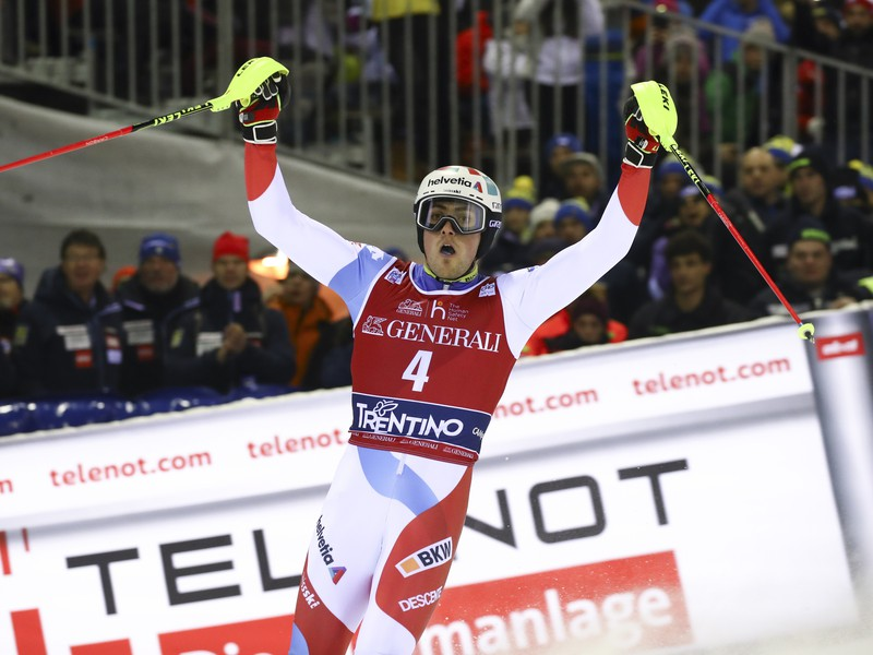 Daniel Yule sa teší z ďalšieho víťazstva v slalome