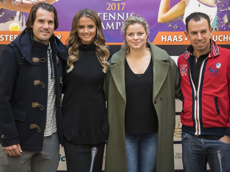 Na snímke zľava nemecký tenista Tommy Haas, slovenská tenistka Daniela Hantuchová, bývalá belgická tenistka Kim Clijstersová a bývalý slovenský tenista Dominik Hrbatý