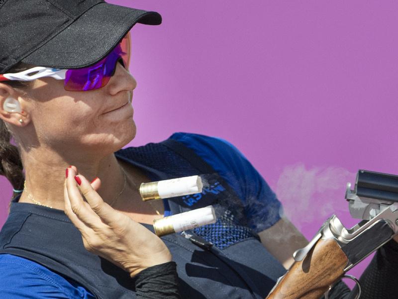 Slovenská reprezentantka v športovej streľbe Danka Barteková počas kvalifikácie v skeete žien