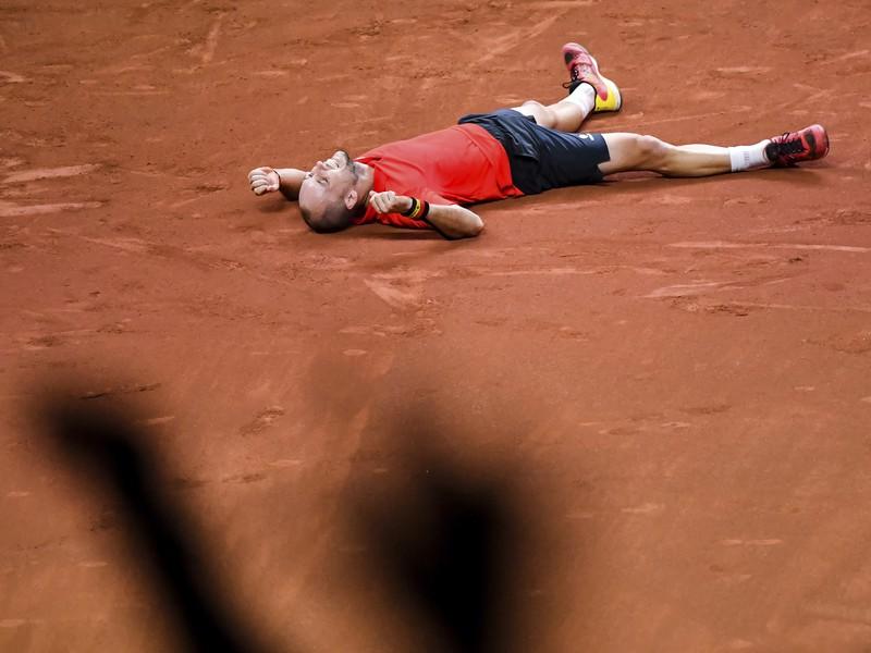Steve Darcis a jeho víťazné oslavy po triumfe Belgicka