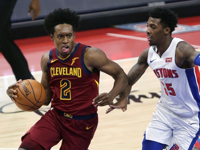 Collin Sexton z Cleveland Cavaliers a Delon Wright z Detroit Pistons v súboji