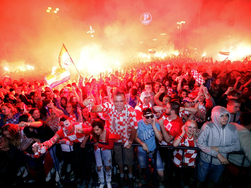 Chorvátski fanúšikovia oslavujú postup do finále MS v Rusku
