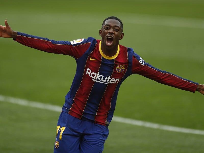 Ousmane Dembélé sa teší z gólu