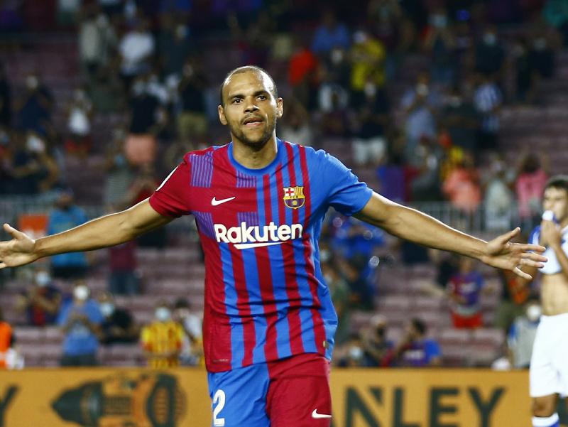 Martin Braithwaite oslavuje gól Barcelony