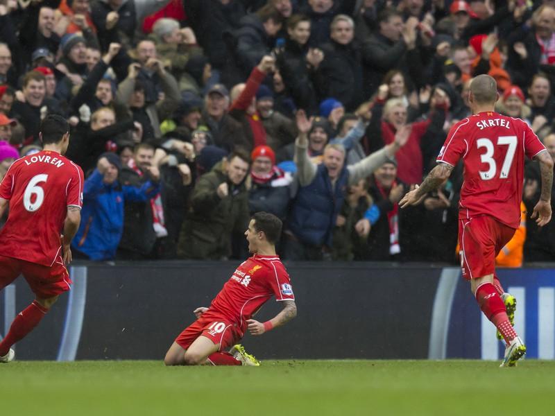 Philippe Coutinho oslavuje svoj gól