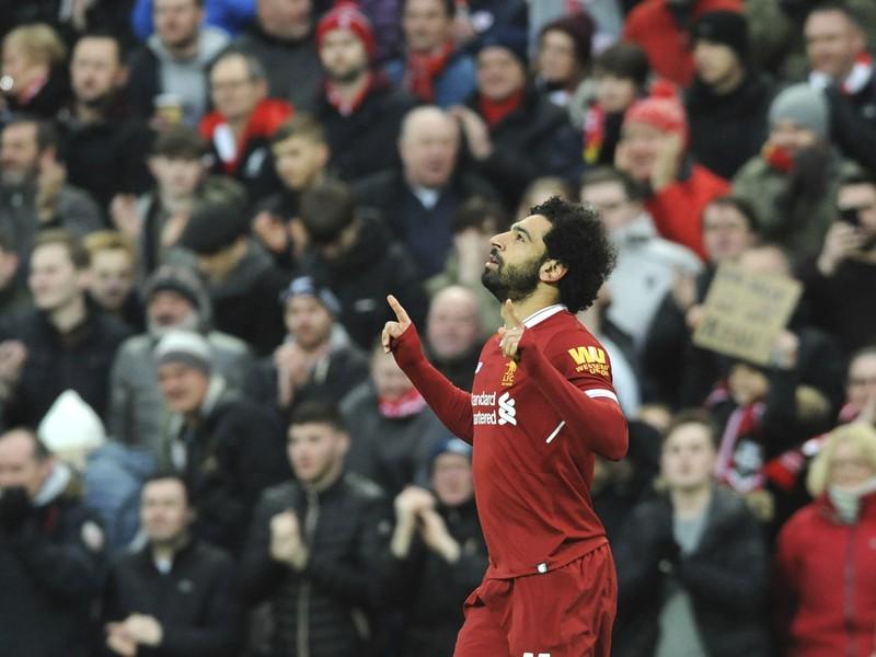 Mohamed Salah sa teší zo zásahu do siete Tottenhamu