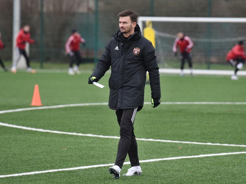 Nový tréner Trnavy Michal Gašparík mladší počas prvého tréningu v zimnej príprave pred jarnou časťou Fortuna ligy.