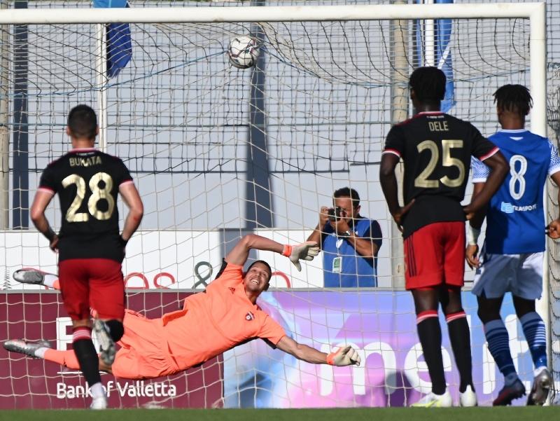 Na snímke gól FC Mosta na 2:0 z penalty počas zápasu 1. predkola Európskej konferenčnej ligy medzi FC Mosta - FC Spartak Trnava