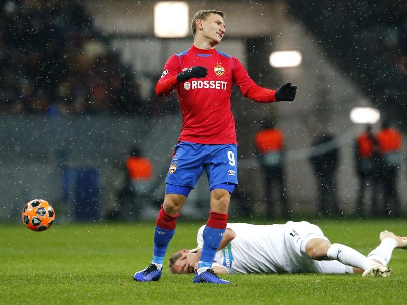 Zápasová momentka zo zápasu CSKA Moskva a Viktorie Plzeň