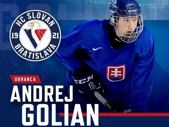 HC Slovan Bratislava sa dohodol na zmluve s 20-ročným obrancom Andrejom Golianom