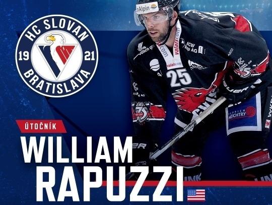 William Rapuzzi je novou posilou HC Slovan Bratislava
