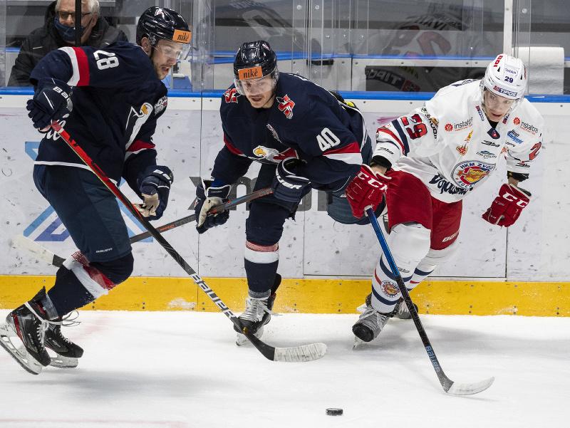 Momentka zo zápasu HC Slovan Bratislava - HKM Zvolen