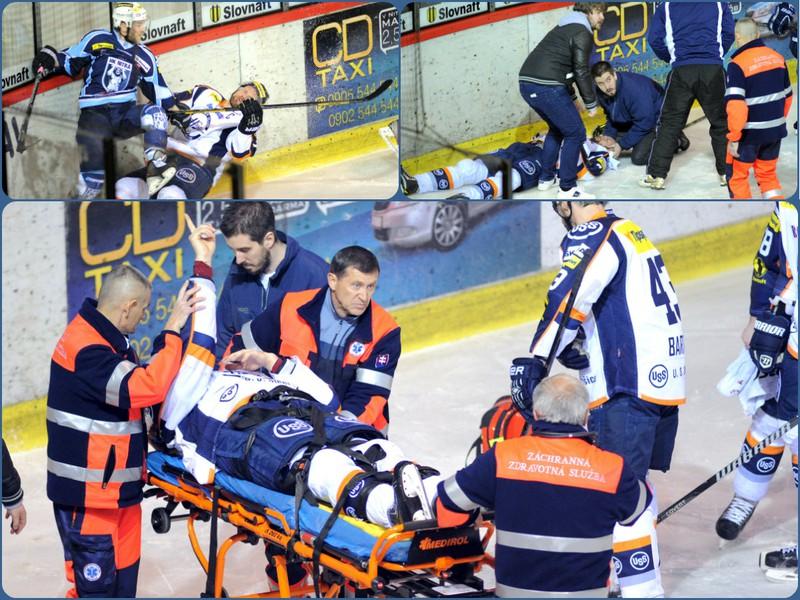 Po faule Lukáša Nováka zostal Martin Štrbák ležať na ľade s krvácaním z ucha a prasknutou lebkou.
