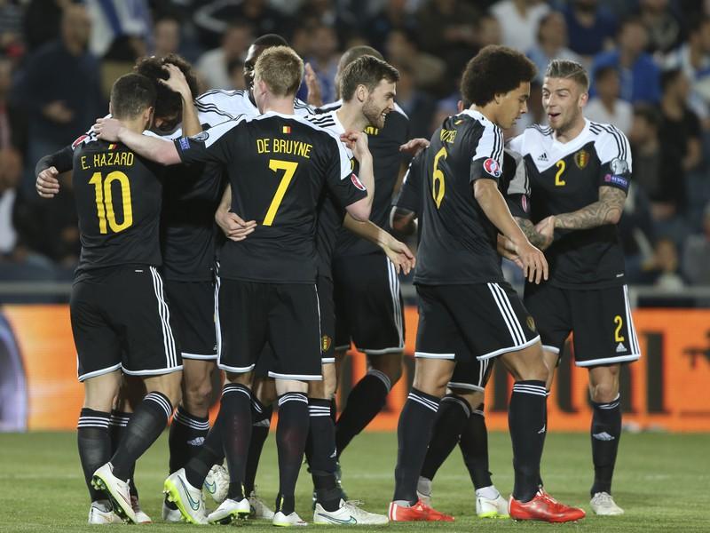 Gólové oslavy futbalistov Belgicka