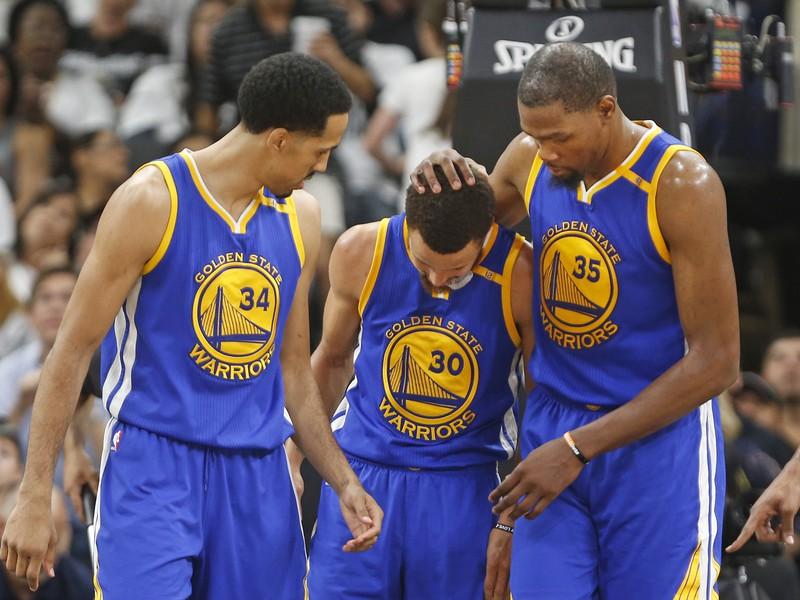 Shaun Livingston, Stephen Curry a Kevin Durant
