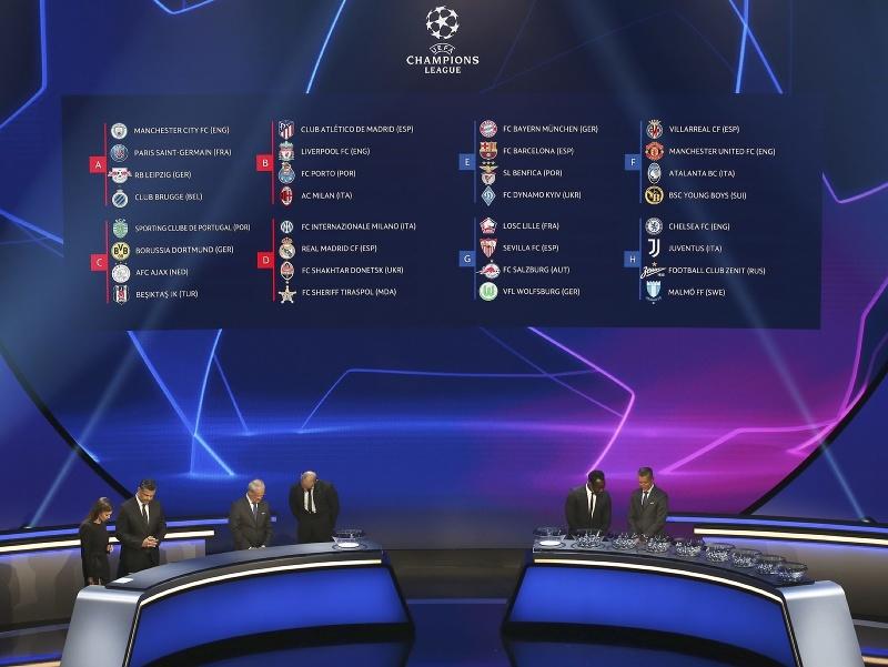 Na snímke vyžrebované skupiny s menami klubov svetia na tabuli po žrebovaní skupinovej fázy futbalovej Ligy majstrov