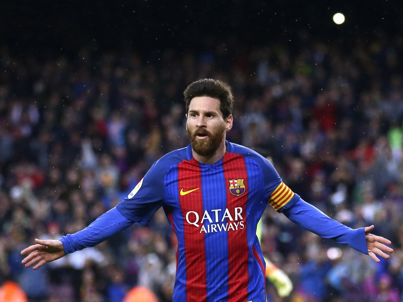 Lionel Messi sa teší z gólu