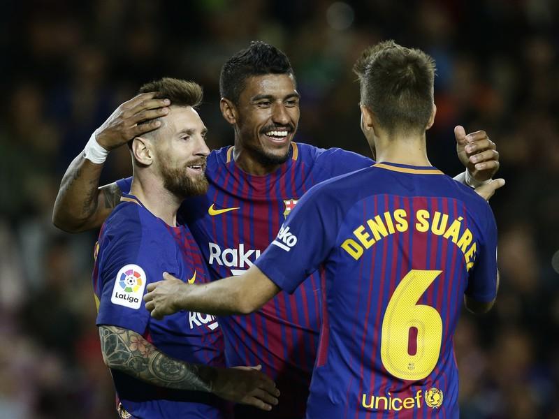 Radosť hráčov Barcelony na čele s Lionelom Messi