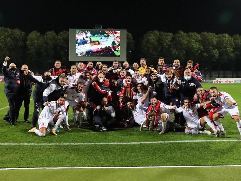 Víťazné oslavy futbalistov Malty