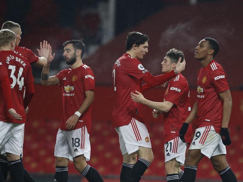Radosť hráčov Manchesteru United po góle