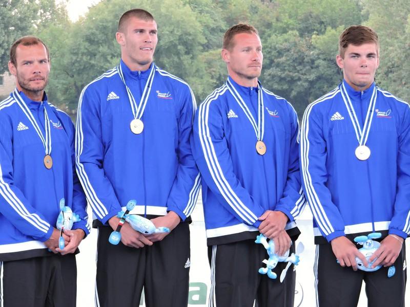 Slovenský štvorkajak v zložení Denis Myšák, Erik Vlček, Juraj Tarr, Tibor Linka