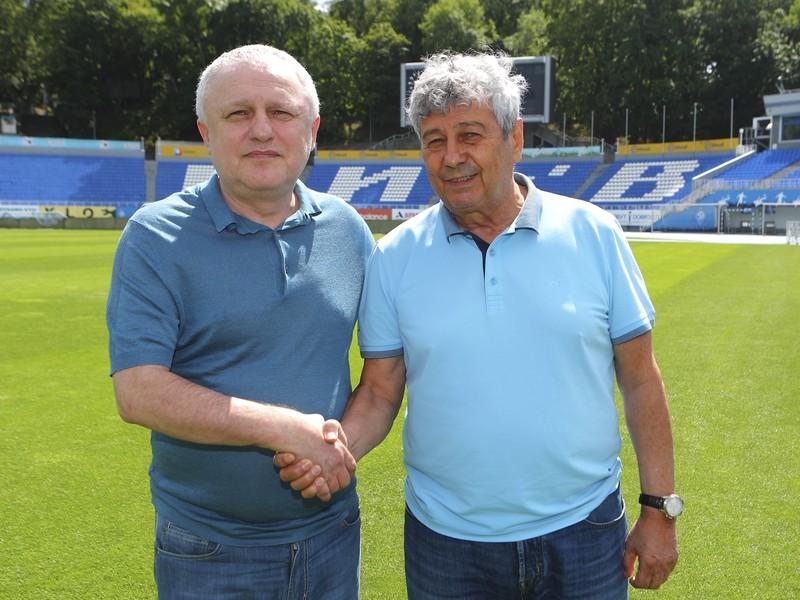Tréner Mircea Lucescu a prezident Dynama Kyjev Igor Surkis