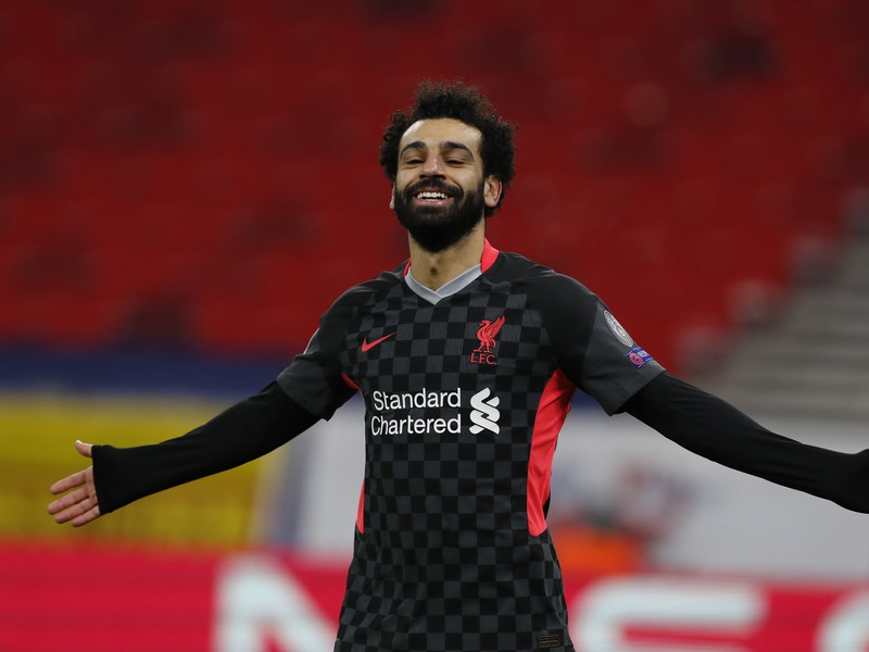 Mohamed Salah oslavuje gól