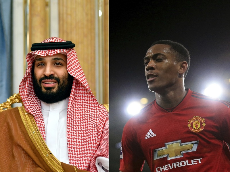korunný princ Muhammad bin Salmán a Anthony Martial