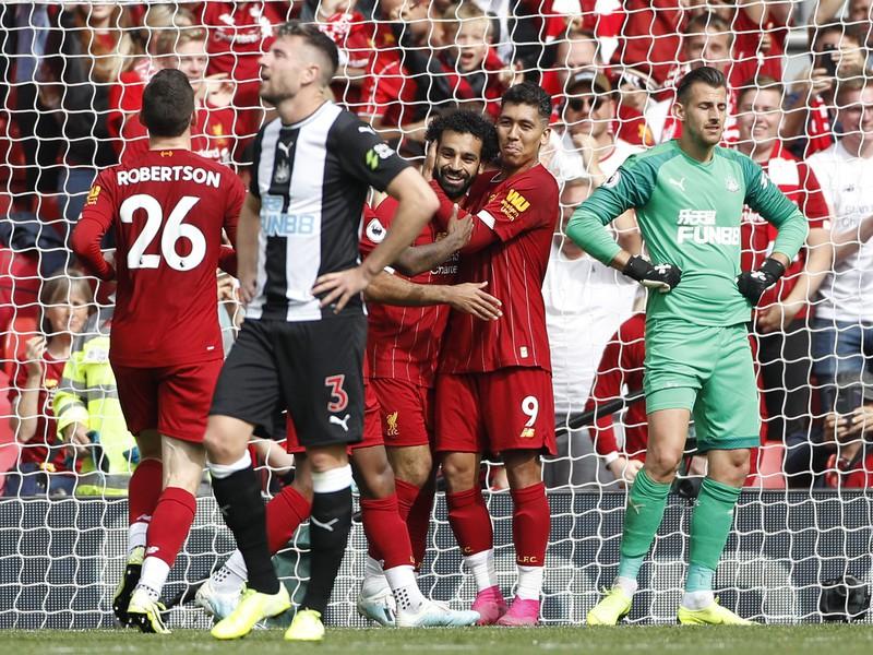 Mohamed Salah sa teší z gólu