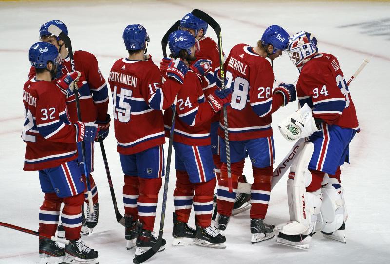 Montreal Canadiens oslavuje víťazstvo