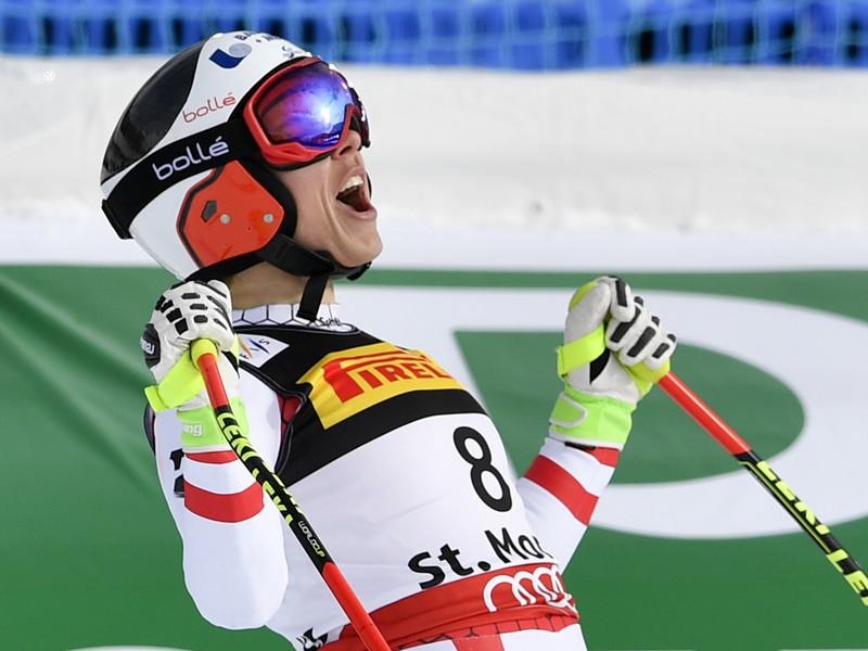 Nicole Schmidhoferová sa raduje z výhry