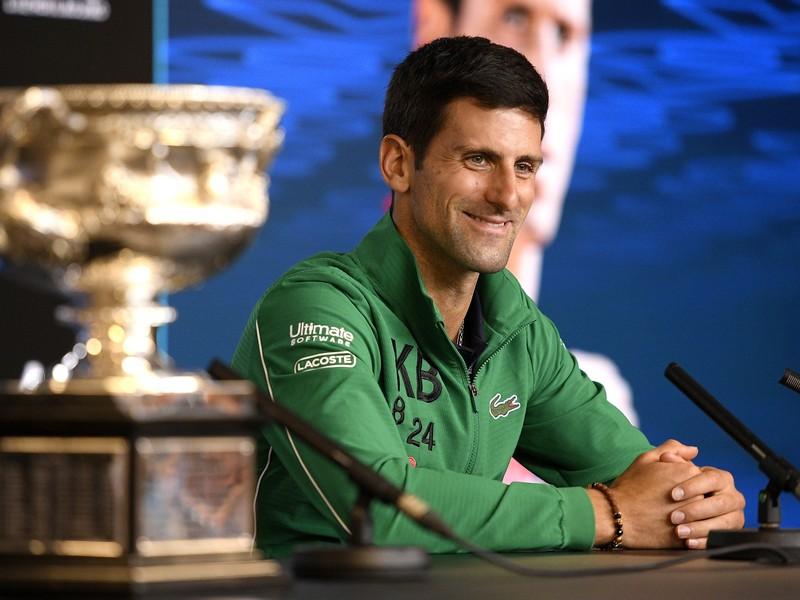 Novak Djokovič počas tlačovej konferencie po finále Australian Open 2020
