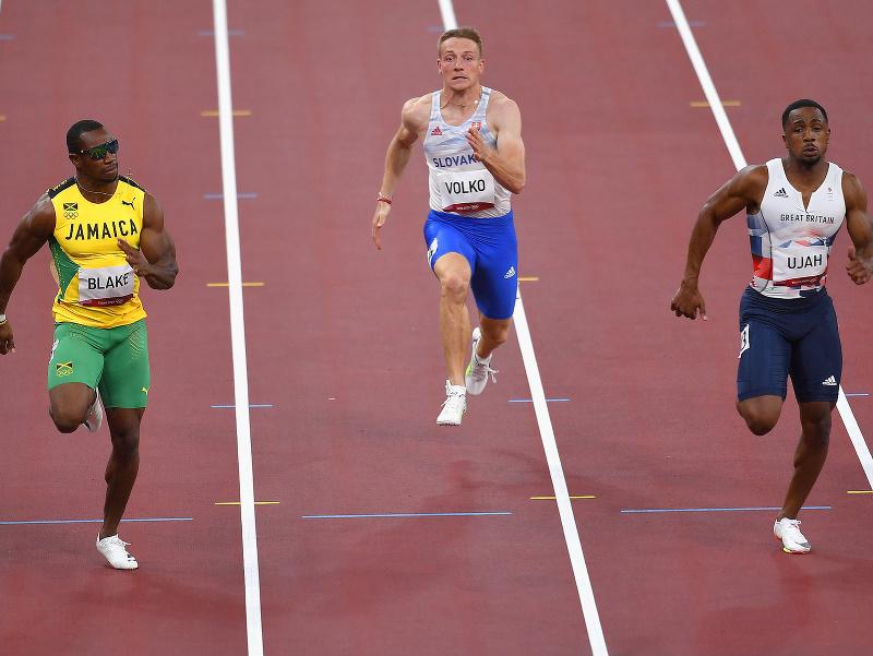 Ján Volko počas šprintu na 100 metrov