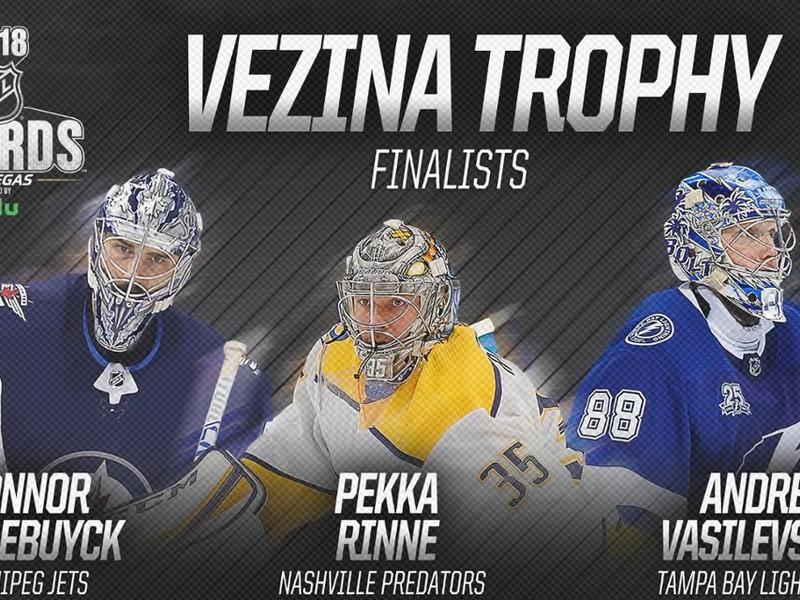 Pekka Rinne, Connor Hellebuyck a Andrej Vasilevskij sú finalistami na zisk Vezinovej trofeje