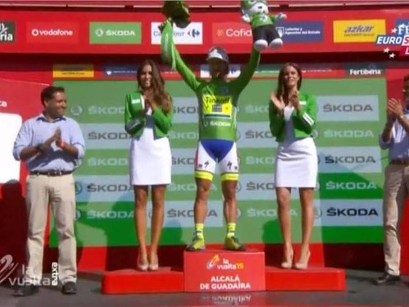Peter Sagan v zelenom drese po piatej etape
