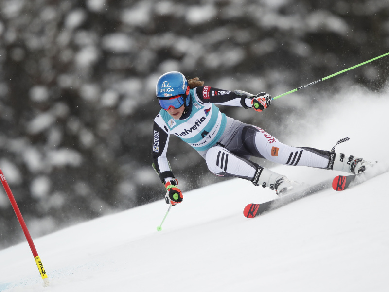 Petra Vlhová počas obrovského slalomu v Lenzerheide